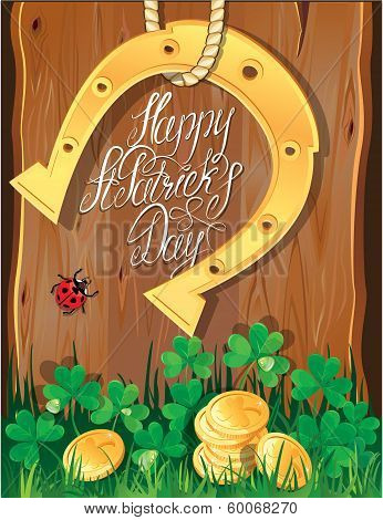 Holiday Card With Calligraphic Words Happy St. Patrick`s Day. Shamrock, Horseshoe, Ladybug And Golde