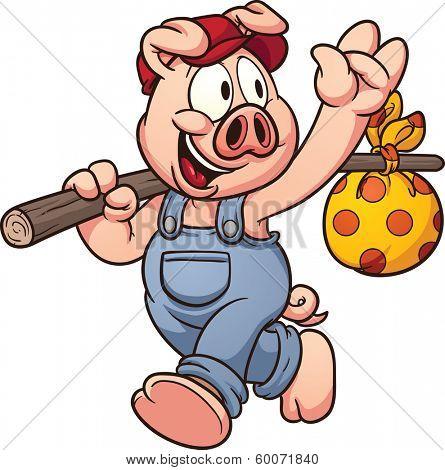 Cartoon pig waving goodbye. Vector