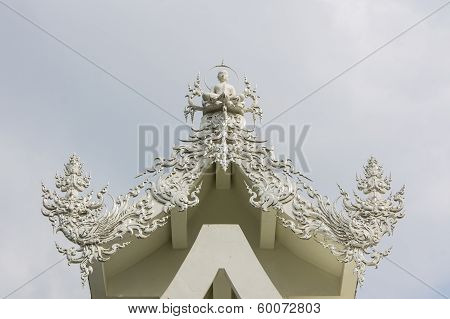Gable Apex In Wat Rong Khun , Thailand White Temple Chiang Rai Province