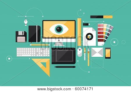 Graphic Designer Workplace Flat Illustration poster