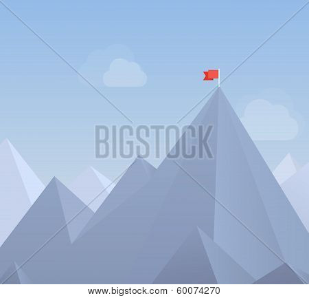 Flag On A Mountain Peak Flat Illustration