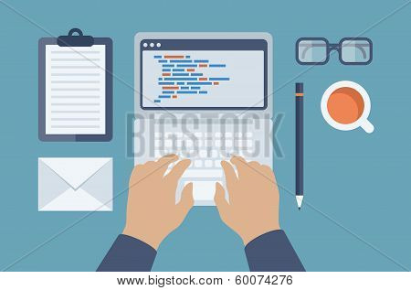 Web And Html Programming Flat Illustration
