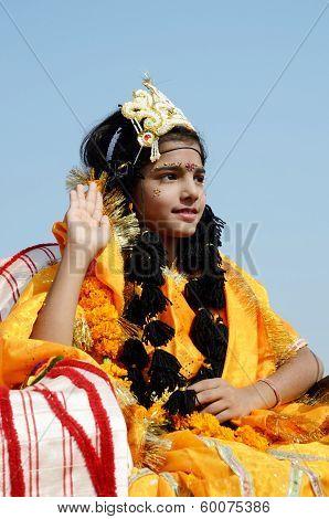 Girl Dressed As Rukmini, Wife Of Lord Krishna ,India