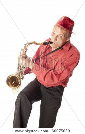 Man Playing Tenor Saxophone Playfull