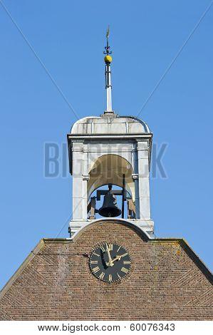 Wooden Belfry Clock Bell And Windvane