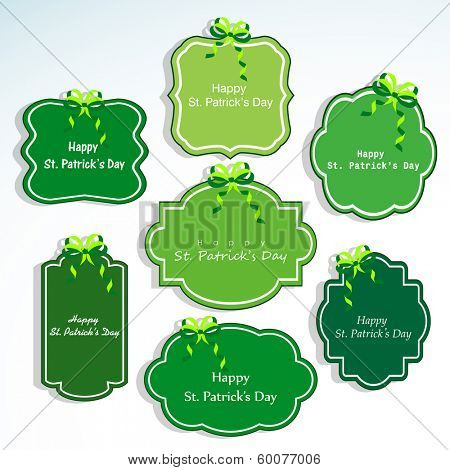 Happy St. Patrick's Day celebration sticker, tag or badges on blue background.