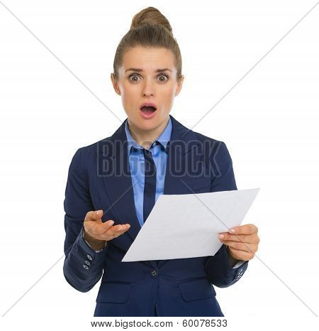 Concerned Business Woman With Document