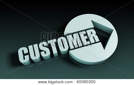 Customer Concept With an Arrow Going Upwards 3D