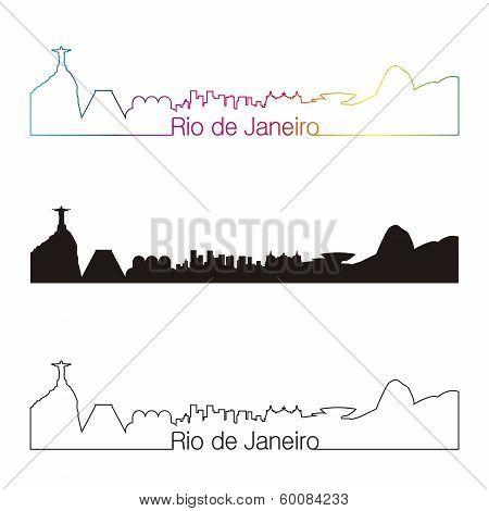 Rio De Janeiro Skyline Linear Style With Rainbow