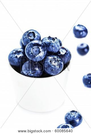 Blueberries In A Bowl Isolated On White Background Close Up. Group Of Huge Bilberries  Superfood Mac