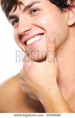 Happy Cleanshaven Male Face With A Toothy Smile