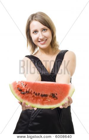 Young Beautiful Woman Offer Piece Of Watermelon
