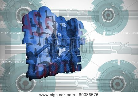 Burglar on abstract screen against technology wheel background