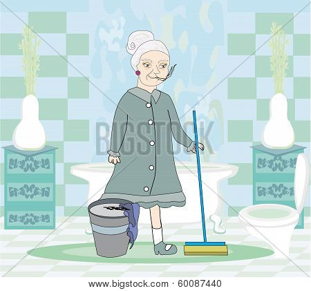 Cartoon Character Housemaid With Mop