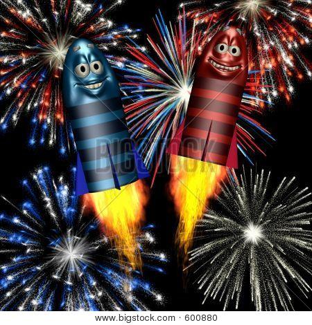 Smiley-Feuerwerk-Raketen