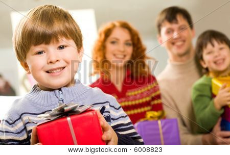 Lad With Present