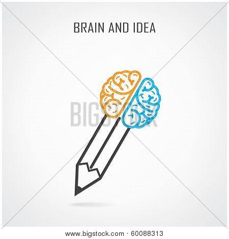 Creative  Brain And Pencil Symbol