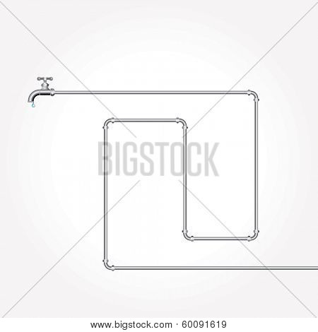 vector layout with faucet and pipes