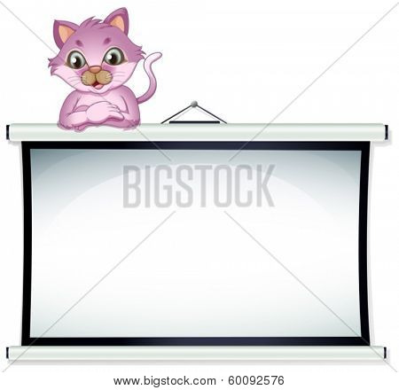 Illustration of a cat above the empty bulletin board on a white background