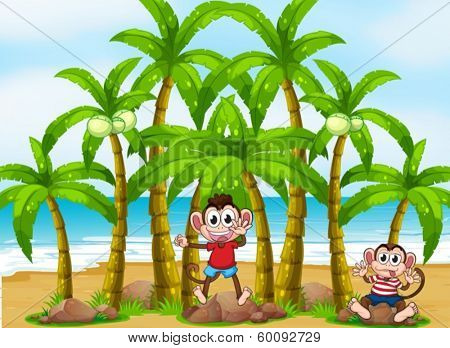 Illustration of the monkeys at the beach with coconut trees