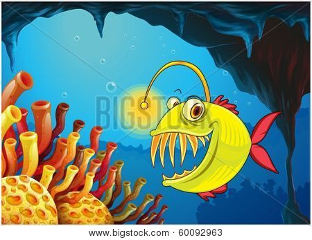 Illustration of a cave with a piranha