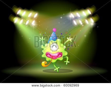 Illustration of a green monster in the middle of the stage