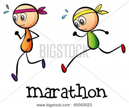 Illustration of a marathon between two stickmen on a white background