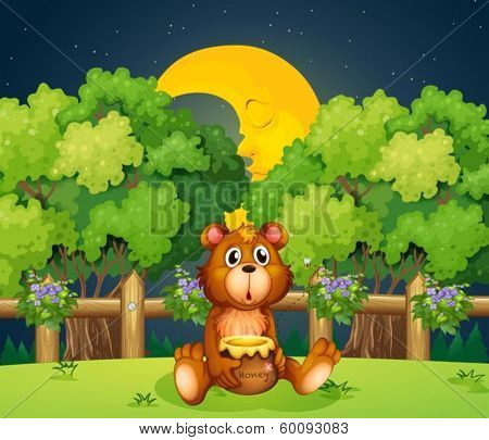 Illustration of a bear at the woods in the middle of the night