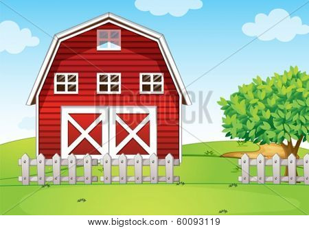 Illustration of a barnhouse at the hilltop