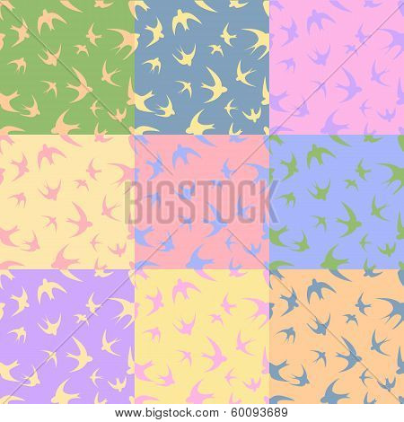 Silhouettes Swallow. Pastel Spring Colors