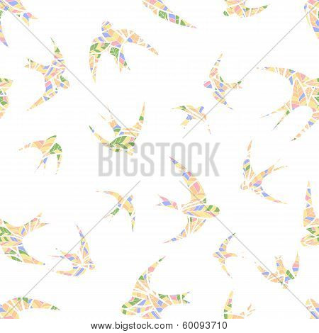 Silhouette Of Swallow Abstract Feathers