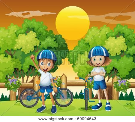 Illustration of the two adorable kids biking