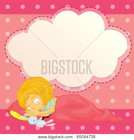 Illustration of a girl sleeping with an empty cloud callout