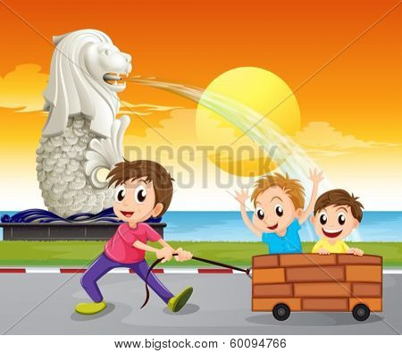 Illustration of a boy pulling an improvised cart near the statue of the Merlion