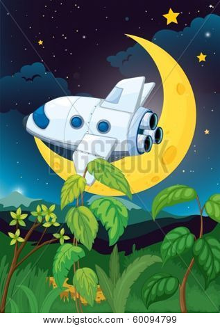 Illustration of an airplane near the moon