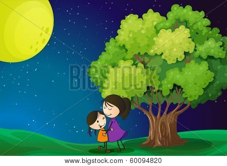 Illustration of a mother and her daughter near the tree