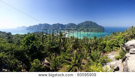 Travel vacation background - Tropical island with resorts - Phi-Phi island, Krabi Province, Thailand