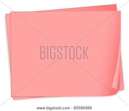 Illustration of the empty pink bondpapers on a white background