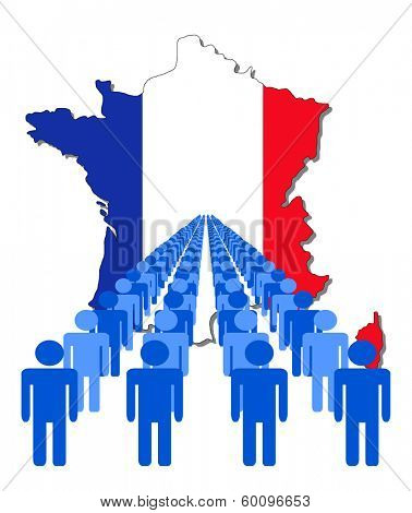 Lines of people with France map flag vector illustration
