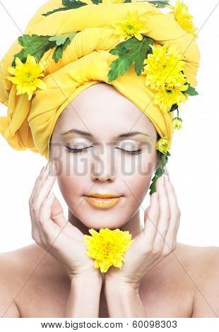 girl and yellow flowers