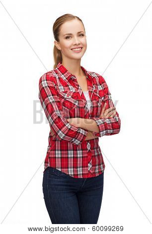 hapiness and people concept - smiling young woman in casual clothes