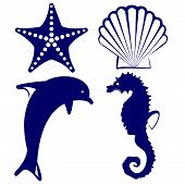 stock photo of aquatic animal  - marine animals  icon set vector  illustration - JPG