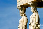 foto of parthenon  - Caryatides Parthenon on the Acropolis in Athens Greece - JPG