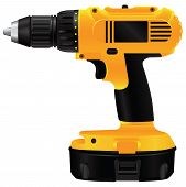 stock photo of hand drill  - Hand electric drill with battery - JPG