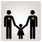 stock photo of bisexual  - a pair of man with a children and some colored hearts - JPG