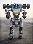 stock photo of war terror  - Robot Futuristic Mech weapon with full array of guns pointed - JPG