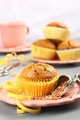 stock photo of buckwheat  - Homemade gluten free muffins from buckwheat flour on rose plate - JPG