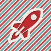 stock photo of going out business sale  - Icon of Go Up Rocket on Red and Blue Striped Background - JPG