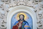image of mural  - Mural painting of Jesus icon at Caves monastery in Kiev - JPG