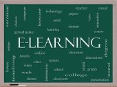 E-learning Word Cloud Concept On A Blackboard